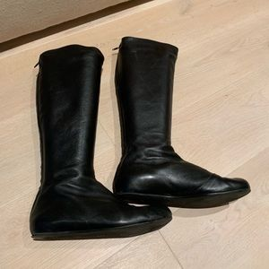 Women's Fashion Leather Flat Boots To the Knee